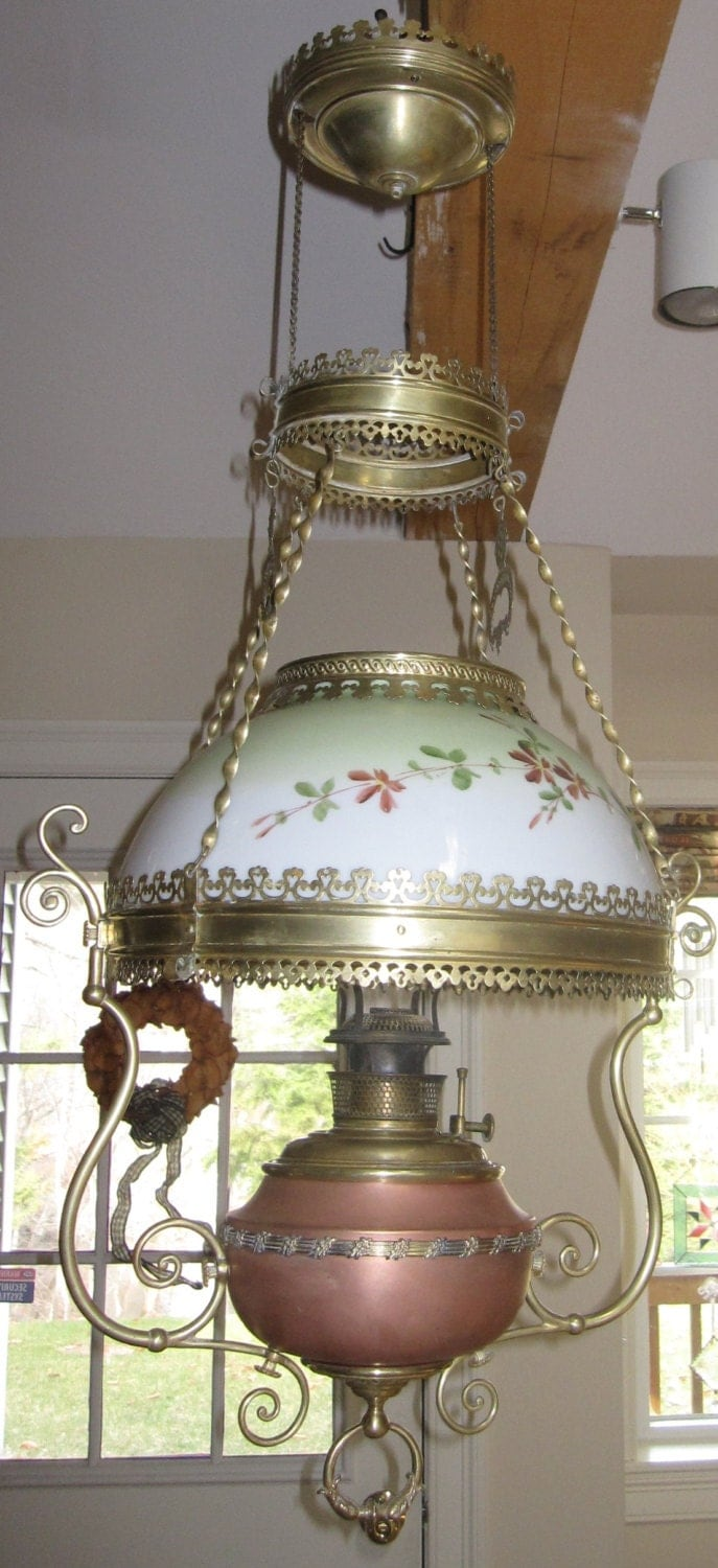 Antique Victorian Bradley And Hubbard Hanging Oil Lamp