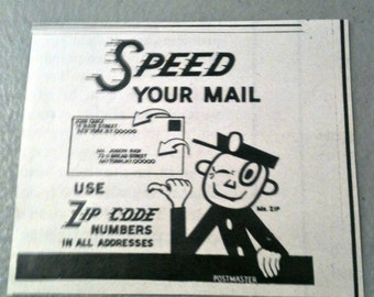 How To Use Zip Code, Post Office AD,  Vintage Ad, Old Paper