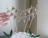 Happy Birthday Cake Topper Baker Banner in natural cotton.