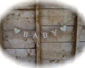 baby burlap banner in white lettering, baby shower banner, photo prop, bunting, sign,