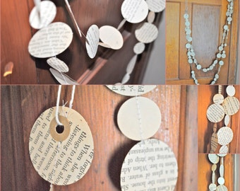 S A L E - Vintage PAPER GARLAND 6ft (Atlas, Dictionary, BOOK/novel Music Sheet, Children's Books)- Repurposed/Upcycled