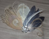 Bridal Gray Silver Creame Goose Feathers and Bleached Ivory Peacock Boutique Hair Clip Fascinator w Rhinestone Embellishment Photo Prop