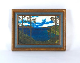 Vintage Folk Art Small Painting Landscape