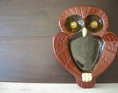 Vintage Ceramic Owl - Jewelry Dish, Owl decor, brown