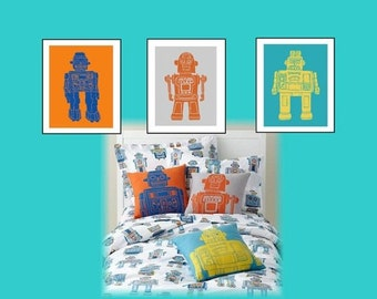 "Robot Nursery Wall Art // Robot Decor // Robot Art Prints // Robot Room Decor // Robot Nursery Decor // 3-11X14"" Set for Toddler or Nursery"