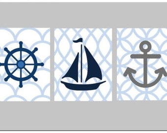 """Nautical Nursery Wall Art, Set of Three 5x7"""" prints, great for nursery, or toddler room, or as a gift"""
