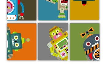 "Robots Art Prints // Robot Nursery Decor // Robot Wall Art // Robot Art for Toddlers // Robot Decor // 5x7"" set of Six PRINTS ONLY Unframed"