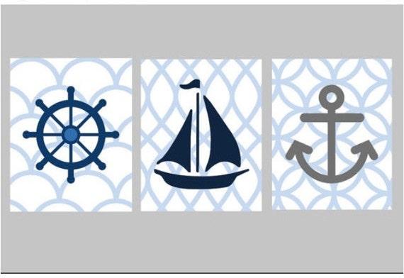 nautical nursery wall art set of three 5x7 prints by littlepergola. Black Bedroom Furniture Sets. Home Design Ideas
