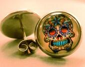 Skull Studs: Sugar Skull Stud Earrings, Skull Earrings,Day of the Dead, Cabachon, Domed, Fake Plug
