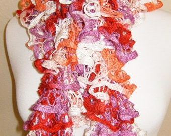 Handmade Knitted Soft Ruffled Lace Boa Scarf Pink Purple Red Spring Colors