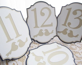 Freestanding Wedding Table Numbers in Navy Blue Tan/Ivory and White - Choose Your Colors