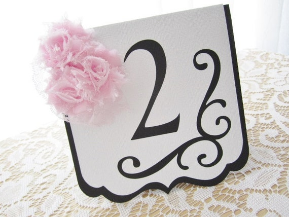 "Wedding Table Numbers - ""Flourish"" in Black and White w/ Pale Pink Blush Chiffon Accents and Pale Pink Lace - Choose Your Colors"