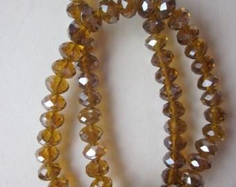 SALE - Brown Glass Beads 8mm 9 Beads