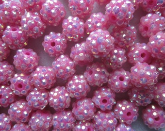 Pink Resin Rhinestone Beads 12mm 8 Beads