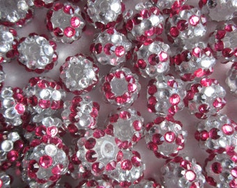 Fuschia and Silver Resin Rhinestone Beads Round Multi Color 12mm 20 Beads