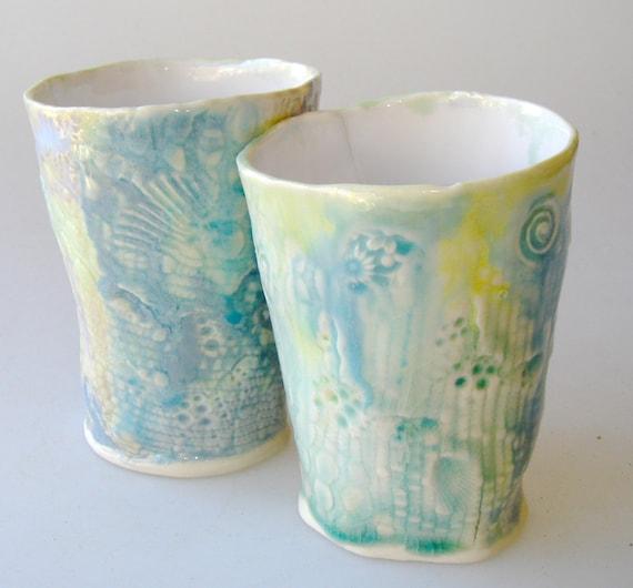 Pastel Ceramic Cup, tumbler set  aqua, turquoise blue pale yellow, pottery mug, ceramic tumber, organic shape cup, wabi sabi cup, pastel cup
