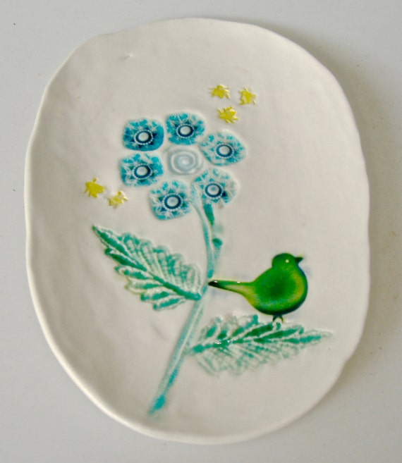 Small Plate, Spoon Rest, Decorative Small dish, with flower, bird in aqua and emerald, spoon rest, tapas plate, garden scene