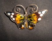 Vintage 1970s David Andersen Guilloche Butterfly Pin Colorful Earthtone Brooch Norway Sterling Silver Yellow/Green/Brown