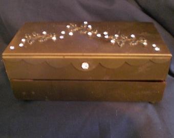 Vintage Rhinestones Gold Tone Jewelry Box Velvet Lined Leaves 1940s to 1950s Two Tier Dresser Bureau