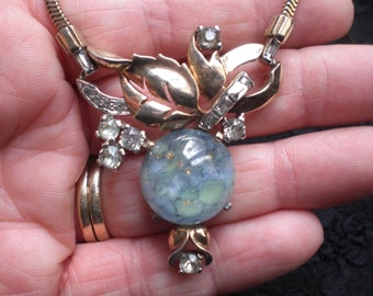 Vintage Mazer Bros Rhinestone Flowers Leaves Art Glass Necklace 1950s to 1960s Gold Tone