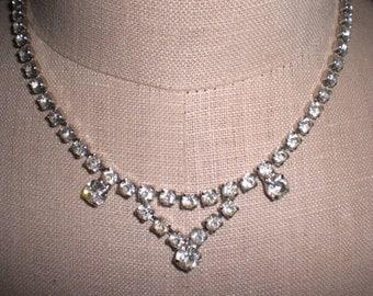 Vintage Rhinestone 1950s 60s Necklace Silver Tone Choker Bridal Wedding
