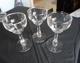 Vintage 1930s to 1950s Glasses Cordial Set of Three Glasses Clear Wine Alcohol/Champagne/Booze Matching