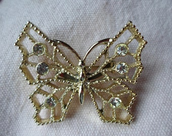 Vintage 1960s to 1970s Butterfly Brooch Gold Tone Rhinestones Sparkly Pin