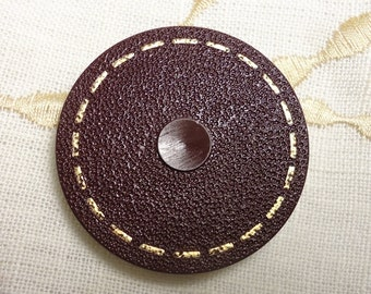 """Chocolate Brown, """"Stitched"""" Around: Extra Large 1-5/8"""" (41mm) Vintage Coat Button"""