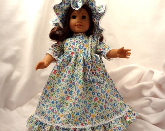 Pink, blue, yellow and green print, with white lace, long dress for 18 inch dolls.