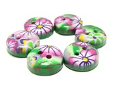 Polymer clay buttons - Four seasons, Summer. Small, set of six