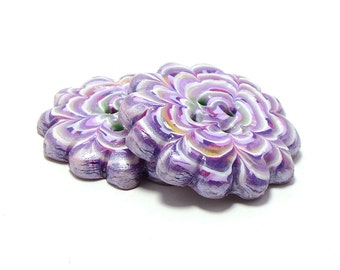 Polymer clay buttons purple large chrysanth buttons set of two