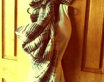 Scarf, Unisex, Square, Black, Grey, White, Plaid, Large, Cotton, Lightweight, Casual, Neckwear, Headwrap,Stripe- A Tad Plaid