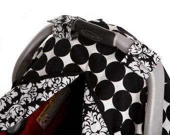 """Car Seat Canopy Cover with slit AND Nursing Veil! """"Ink Dot"""""""