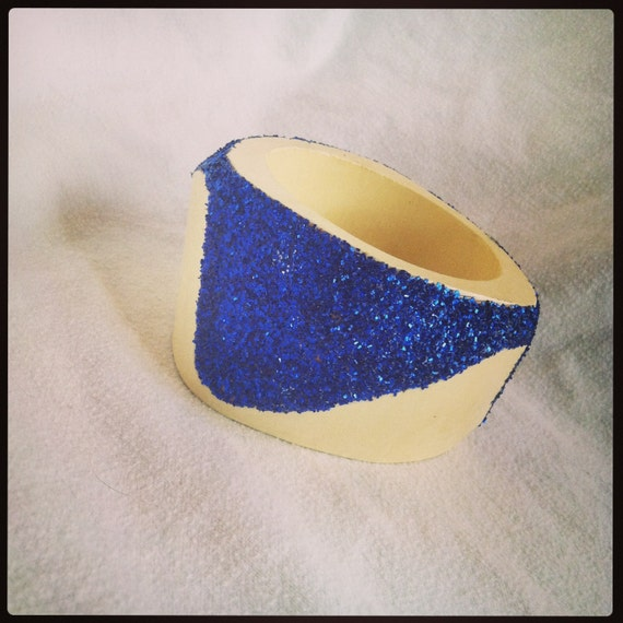 Geometric Blue Glitter Large Bangle