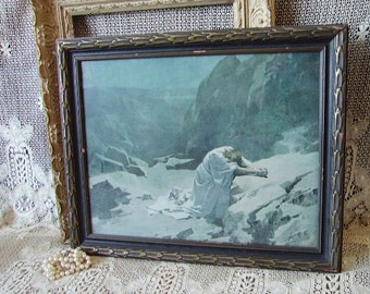 Vintage Jesus in the garden of Gethsemane, Shabby and chippy, tattered, black , blue, gray