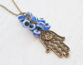 Evil Eye Necklace Hamsa Charm Necklace, Fatima Hamsa Hand, Evil Eyes Charm Necklace, Religion Protection, Blue Yoga Jewelry, Friend Necklace