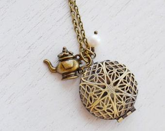 Teapot Locket Necklace, Teapot, Pearl Locket Pendant, wonderland Jewelry, Bridesmaid Locket Necklace, Filigree Locket, best friend necklace