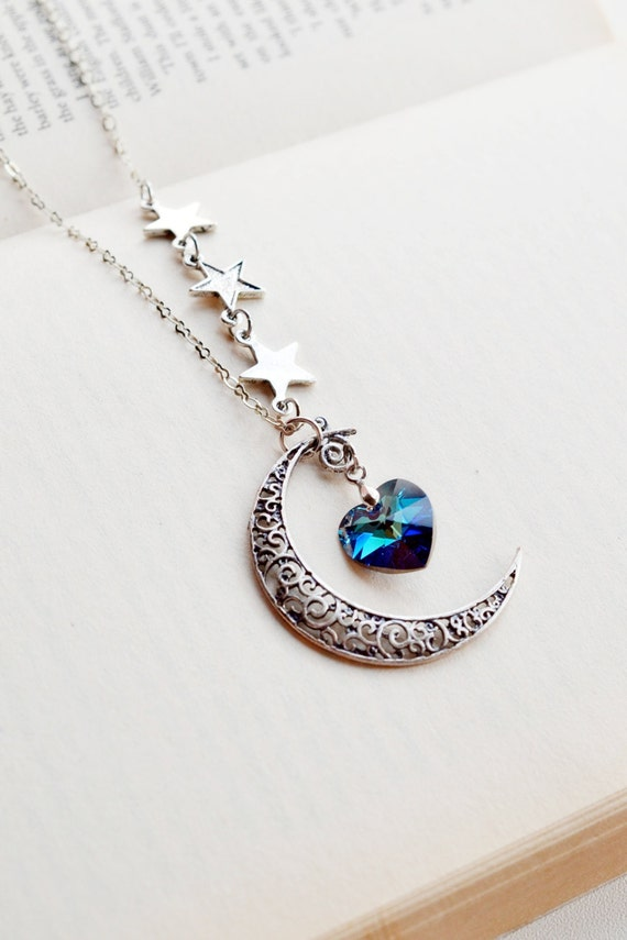 Crescent Moon and Star Necklace Moon Necklace Astrology