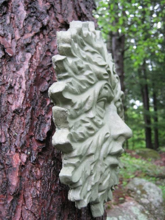 Green Man Face, Concrete Garden Decor, Cement Face, Greenman Face, Concrete  Garden Face, Hanging Green Man Faces, Yard Art Garden Faces