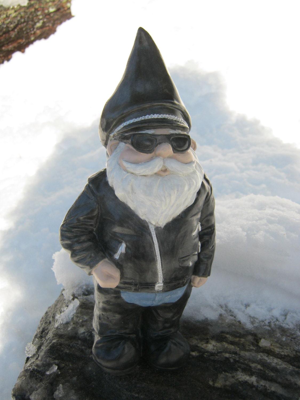 Gnome Garden: Biker Gnome Concrete Garden Statue Gnomes In Black Leathers