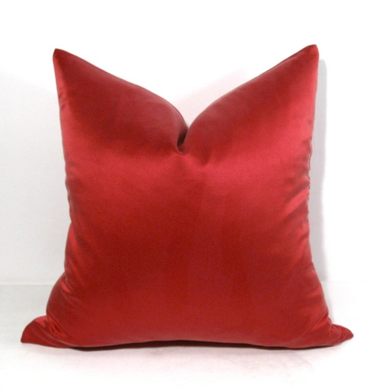 Red Silk Decorative Pillows : Silk Pillow Cover Decorative Red Pillow Crimson by SewSampleShop
