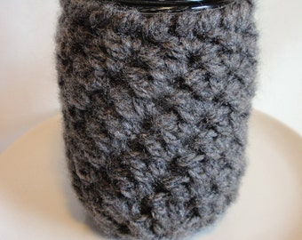 Mason Jar Cozy / Jar Sleeve/ Mason Jar Cover Charcoal Gray Sweater Sleeve PINT SIZE 16 oz./ Gift for Her Gift for Him Coffee Accessories
