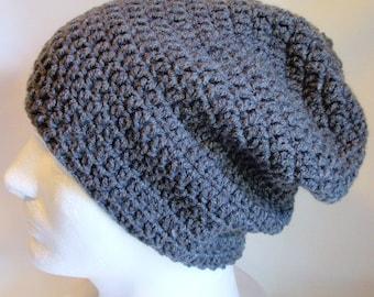 Slouchy Beanie Gray Mens - Crochet Slouch Beanie Mens Grey Beanie Hipster Hat - Gray Slouchy Beanie - Fall Apparel - Men's Fashion