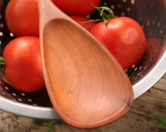 Handmade wooden spoon roux spoon made of American Black Cherry wood