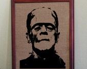 Home Decor Classic Monster Frankenstein Screen Printed Burlap for Wall Frame 10 x 14