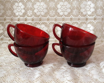 Tea Cup Ruby Red Glass Cups Glasses Tea Cups
