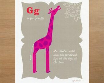 Giraffe - Nursery Decor - Zoo Art - ABC Print in Pink