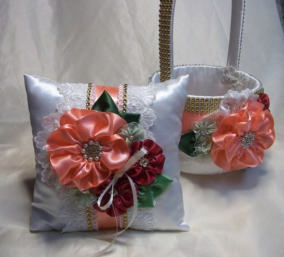 Flower Girl Baskets And Matching Ring Bearer Pillows : Items similar to flower girl basket and matching ring