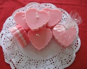 Scalloped Valentine Heart Candles - 6 - 3 oz. each. Soy , Hand Poured / SCENTED
