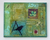 spring mixed media collage,inspirational thoreau quote